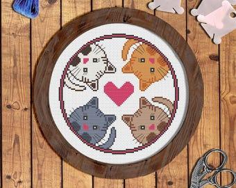 4 cats cross stitch pattern Cat cross stitch Cat embroidery pattern Cat pattern Cat lover Gift for women