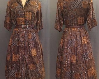60's Jo Ji Novelty Print Shirtwaist Dress