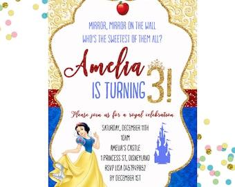 Snow White  Invitation, Snow White Birthday Invitation, Princess Invitation, Girls Birthday Invitation,
