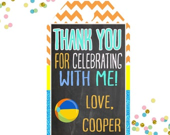 BoysPool Party Favors Tags -Pool Party - Thank you tags