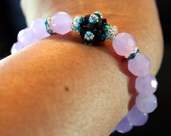 Cute violet, Aqua & black-beaded handmade bracelet with tassels; beadweaving, shamballa, beautiful, party wear, casual wear