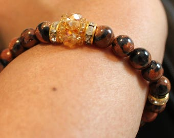 Beautiful Mixed gold & blue sand-stone beaded bracelet; shamballa, handmade, beadweaving, elegant, casual wear, party wear