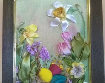 Embroidered picture EASTER MOOD.Embroidery with satin ribbons, silk and silk threads.Easter gift.