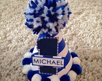 Personalized Party Hat/ Birthday hat/ Blue Birthday/ Custom Boys Birthday