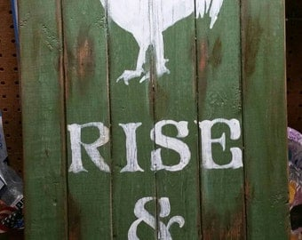 Custom Gray, Light Blue Rise &Shine with Rooster Sign, Rustic, Hand Painted, Kitchen, Farmhouse, Bedroom