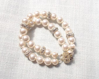 Handmade Sparkling Vintage Inspired Pearl & Fancy Crystal Station 2-Strand Bridal Bracelet, Bridal, Wedding (Pearl-809)
