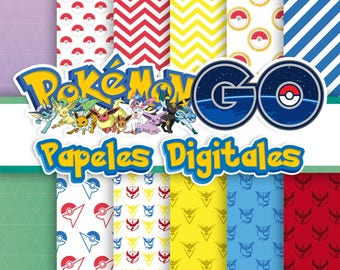 12. digital papers Pokemon GO 12 x 12 inch JPEG