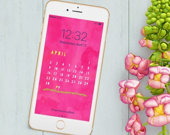 SALE! Monthly Calendar iPhone Wallpaper - April Digital Calendar - Cell Phone Background - Hot Pink Watercolor- Instant Download!