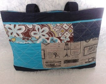 Patchwork tote / bag Green / Green bag / I like the blue / love is blue