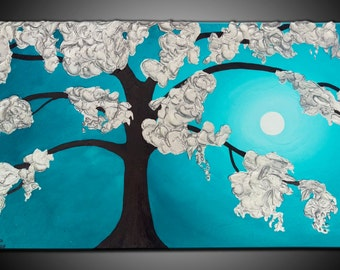 Original ABSTRACT PAINTING on Canvas, TEXTURED, silver, turquoise, Wall Art, Modern, Contemporary, art deco, tree, leaves
