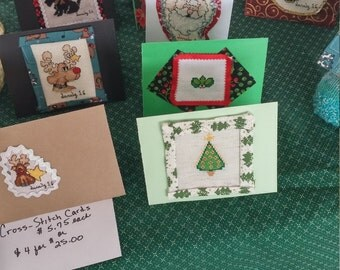 Cross stitched greeting cards