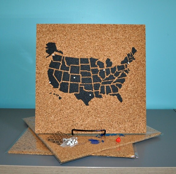 Push Pin Cork Travel Map of the United States Wanderlust