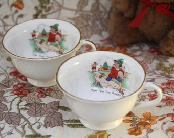 Pair of Vintage Children's Bone China Teacups - Tom Tom the Pipers Son