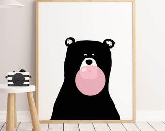 Bubble gum Bear Print, Woodland Nursery Decor, Black White Nursery, Bear Wall Art, Girls Nursery Decor, Modern Minimal Animal, baby boy gir