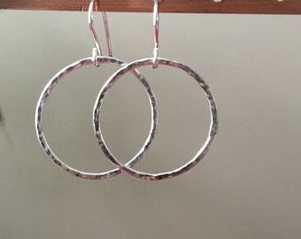 Sterling Silver Hoop earrings; hammered circle earrings, simple circle earrings, gift for her, sterling silver circle dangle earrings