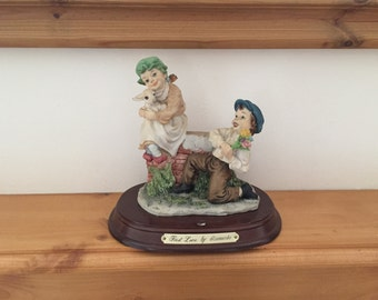 Vintage Handmade and Handpainted First Love Figurine by Leonardo Collection on Plinth