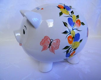personalized piggy bank, hand painted piggy bank, piggy bank, piggy bank with roses, butterflies, nursery decor,