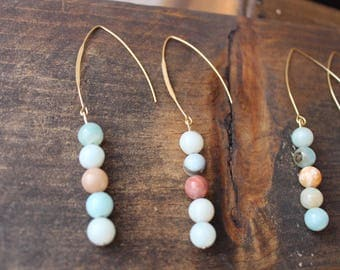 Amazonite Beaded Earrings with raw brass