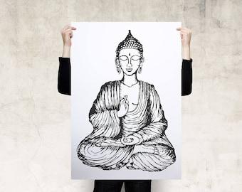 Sitting Buddha Subduing Mara Poster