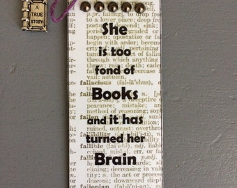Book quote book page bookmark with book charm