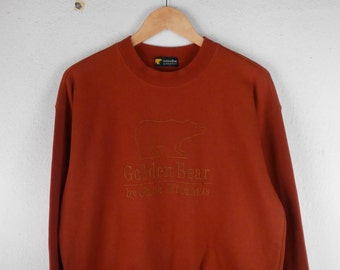 RARE!!! Golden Bear by Jack Nicklaus Big Logo Embroidery Crew Neck Orangish Red Colour Sweatshirts Hip Hop Swag L Size