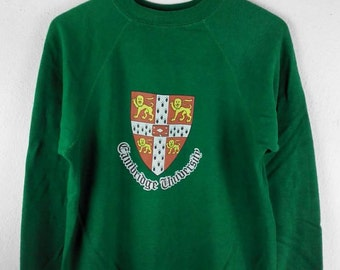 RARE!!! Vintage Cambridge University Big Logo Crew Neck Sweatshirts Hip Hop Swag S Size