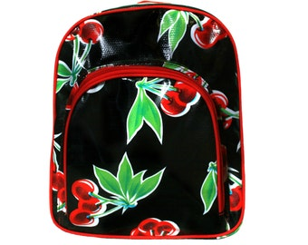 waterproof backpack for children from some, cherries, black oilcloth