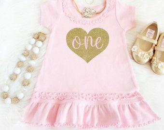 Pink and gold birthday outfit - 1st birthday dress - One year old pink birthday dress - Pink and gold first birthday dress