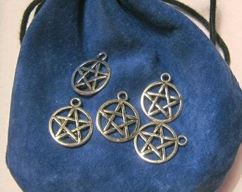 Pentagram star esotericism aged silver x 5