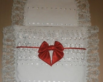 White Broderie Anglais & White Lace with Red Satin Bow Moses Basket or Baby Pram Stroller Quilt Set