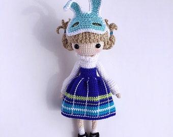 Crochet Doll Pattern - Kayla 凯拉. (Little Girl with Rabbit Mask)