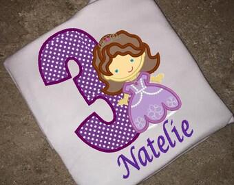 Princess Sofia Birthday shirt embroidery and applique