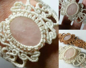 Rose Quartz mounted into a Micro Macrame Bracelet.