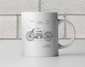 Harley Davidson Motor Cycle Patent Art Mug Gift, Harley Davidson Mug, Biker Gift, Motorcyclist Gift, Motorcycle Mug, Motorcycle Patent