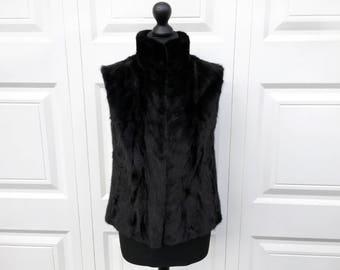 Mink Fur Vest - Fur Gilet - Real Black Mink Fur in Chevron Pattern with Funnel Neck and Pockets - Sleeveless Fur Coat