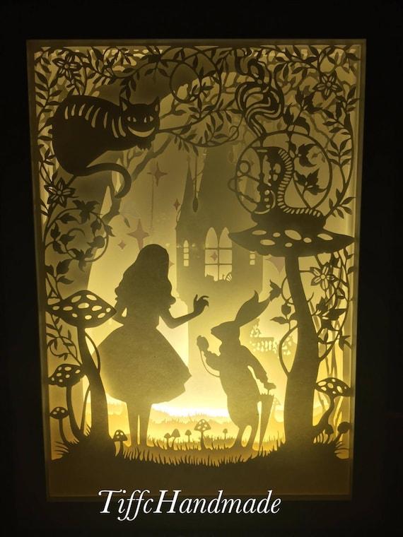 alice in wonderland paper cut light box. Black Bedroom Furniture Sets. Home Design Ideas