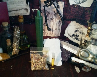 Green Meditation Candle Spell Kit: Money, Fertility, Stability, Abundance