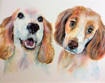 Custom Double Pet Portrait, original watercolour painted from your photos, made to order