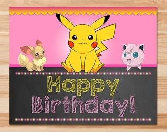 Pokemon Happy Birthday Sign - Pink Chalkboard - Girl Pokemon Pikachu Sign - Girl Pokemon Party - Pokemon Printables - Evee - Jiggly Puff