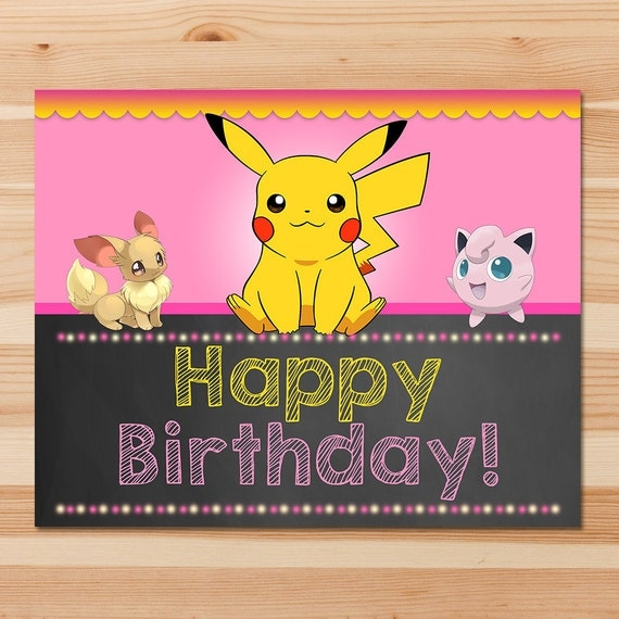 Pokemon Happy Birthday Sign - Pink Chalkboard - Girl Pokemon Pikachu Sign - Girl Pokemon Party - Pokemon Printables - Evee - Jiggly Puff