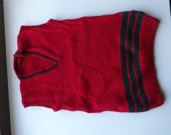 Kids hand knitted vest top, red and green, warm and cosy
