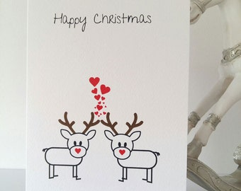 Happy Christmas card, rudolph xmas card, merry christmas, chrimbo, happy christmas card, card, santa, rudolph, family greeting card, love