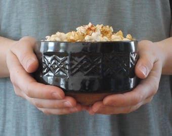 Stamped Bowl // Ceramic Bowl // Handmade Pottery Bowl // Patterned Bowl // Serving Bowl // Black Bowl // Modern Rustic Bowl