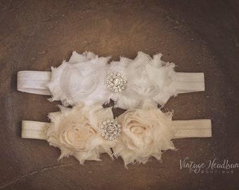 Cream Baby Headband. Emily Cream Baby Girls Headband. Chiffon Rose Headband. Baby Girl Headband. Wedding Christening Bridesmaid Headband