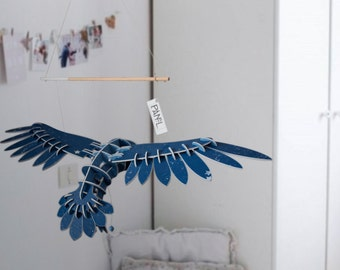 Lovely OWL mobile in wood hand painted in blue with stars on wings flying inspiration for girl or baby decoration suspension modern