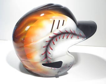 Custom Airbrushed Batting Helmet with Name on Back (Painting your helmet)