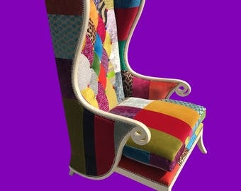 Stunning designer patchwork porters chair,shabby sheek
