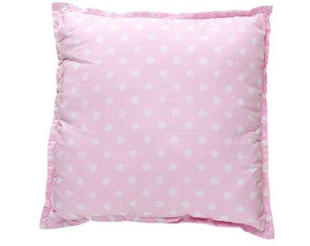 Pillow Square - Pink & White Dots