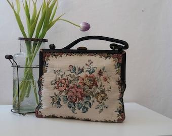 Vintage 1950s Tapestry Purse/| vintage tapestry bag / vintage 50s tapestry handbag /