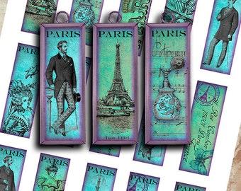 "1x3"" MICROSCOPE SLIDE IMAGES - Blue Paris - Printable Digital Collage Sheet - Jewelry Making, Glass Pendants, Scrapbooking"
